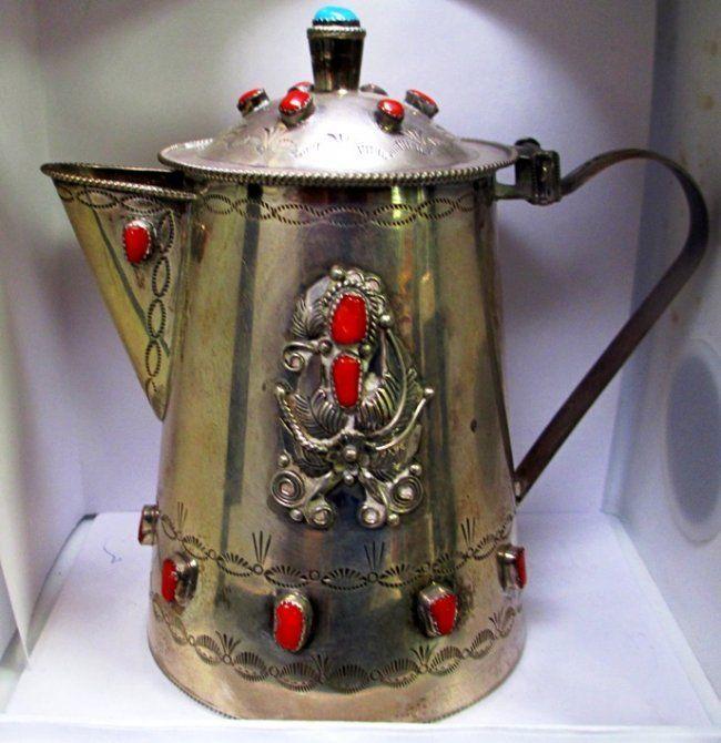 ANTIQUE NAVAJO SILVER TEA POT TURQUIOSE STONES & 2 CUPS