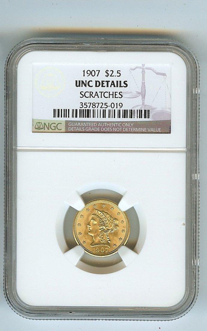 1907 U.S. $2.50 GOLD LIBERTY HEAD UNCIRCULATED GRADE