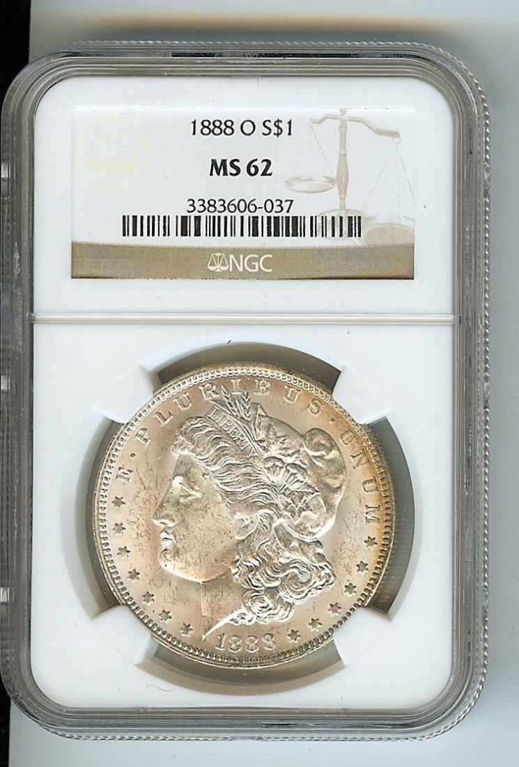 1888-O U.S. MORGAN SILVER DOLLAR TONED LUSTER MS-62