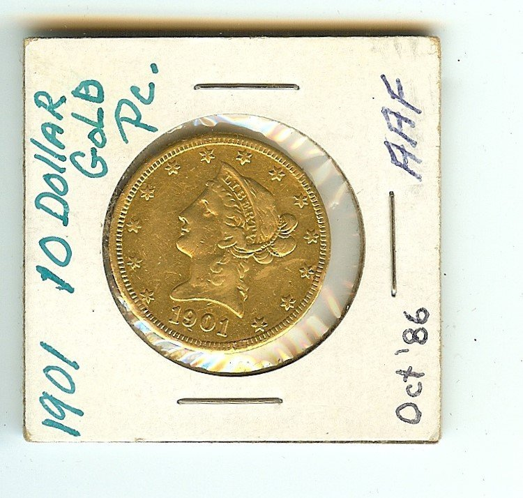 1901 U.S. LIBERTY HEAD TEN DOLLAR GOLD COIN AU GRADE
