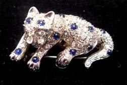 18 KT GOLD DIAMOND & SAPPHIRE PANTHER PIN