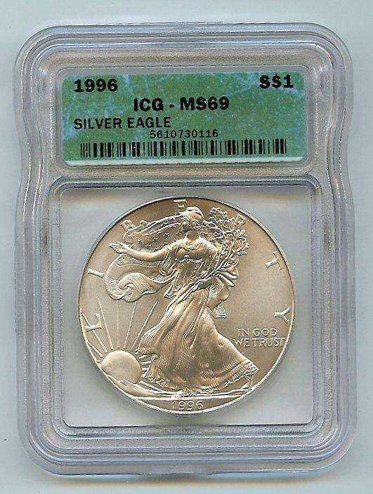 1996 ICG-MS69 Silver eagle