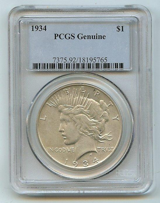 1934 PCGS Genuine Peace dollar