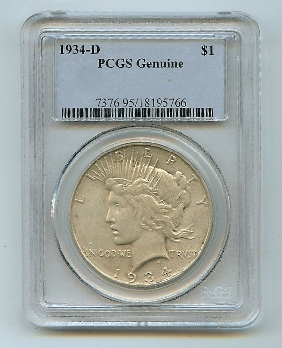 1934-D PCGS Genuine Peace Dollar