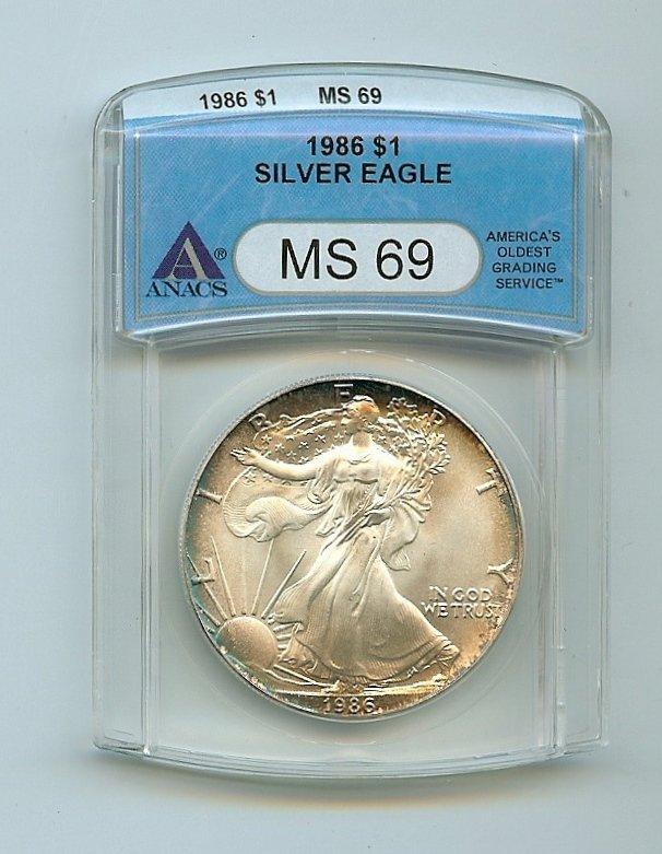 ANACS 1986 MS69 Silver Eagle