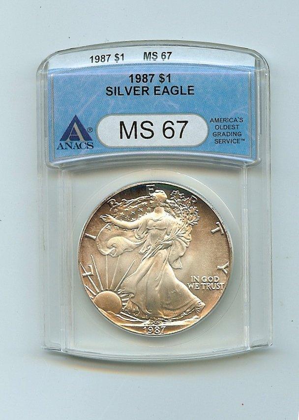 ANACS 1987 MS67 Silver Eagle