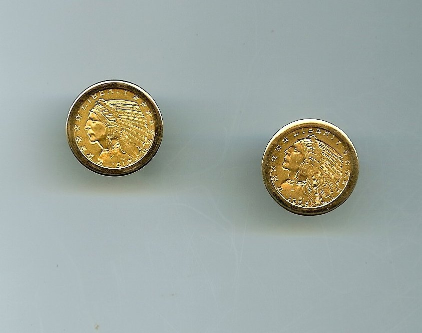 Pair of American Indian $5 Gold coin cufflinks in 14k