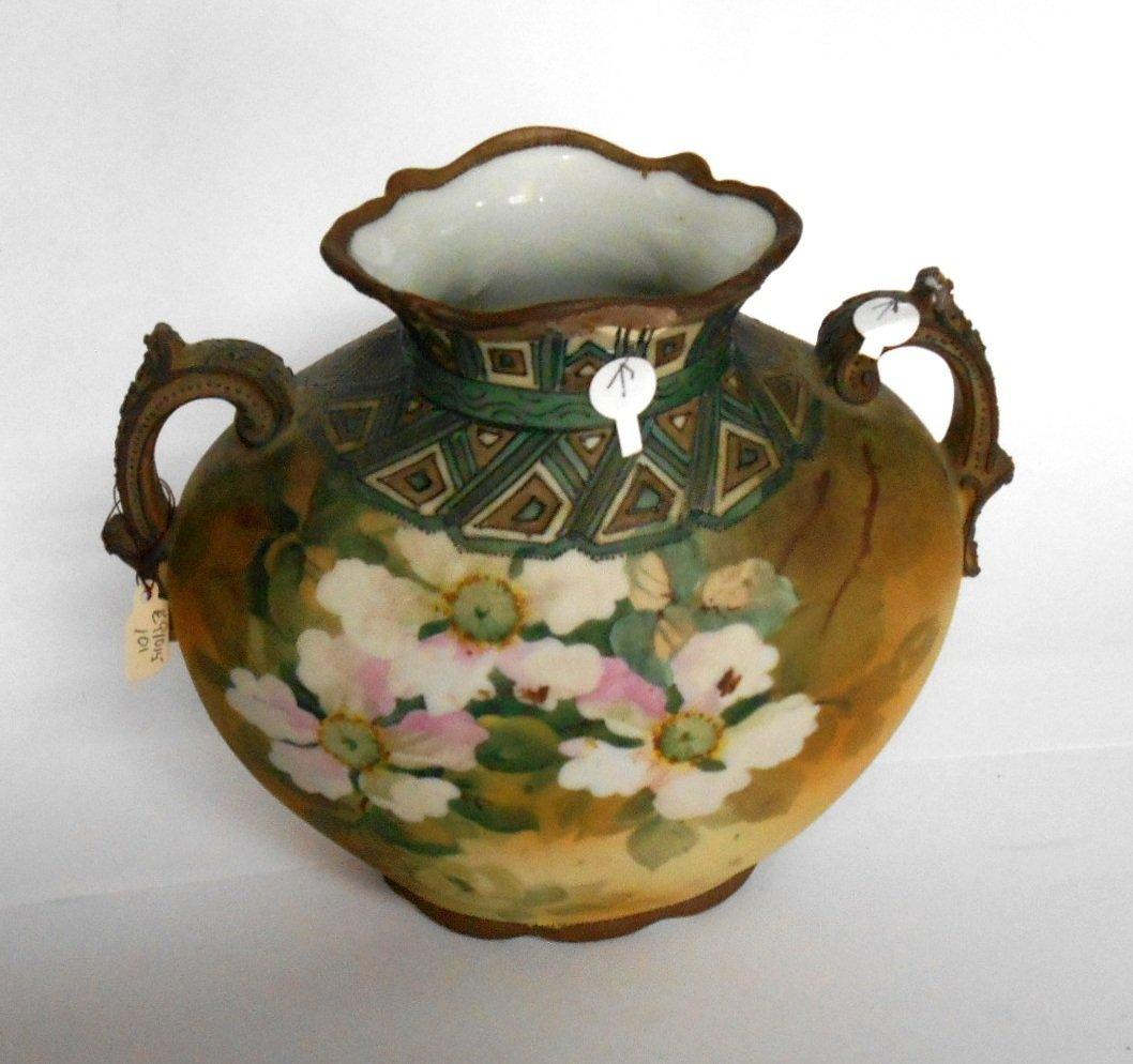 Nipon Hand Painted Moorage Floral Theme 2 Handled Vase