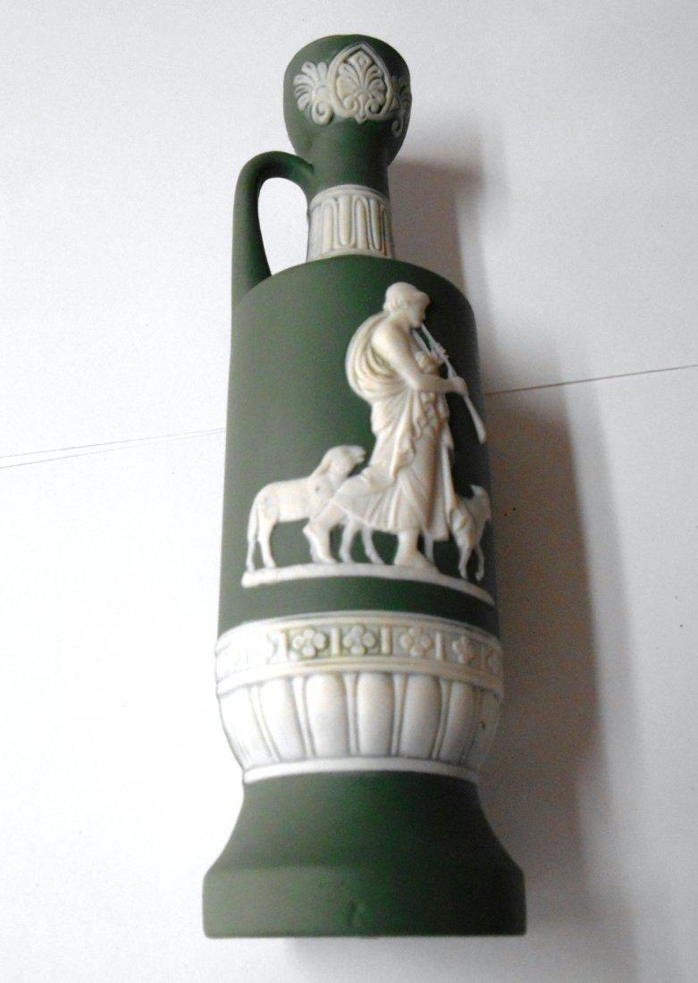 SCHAFER & VATER GERMANY GREEN WHITE JUG SHEPHERD SHEEP