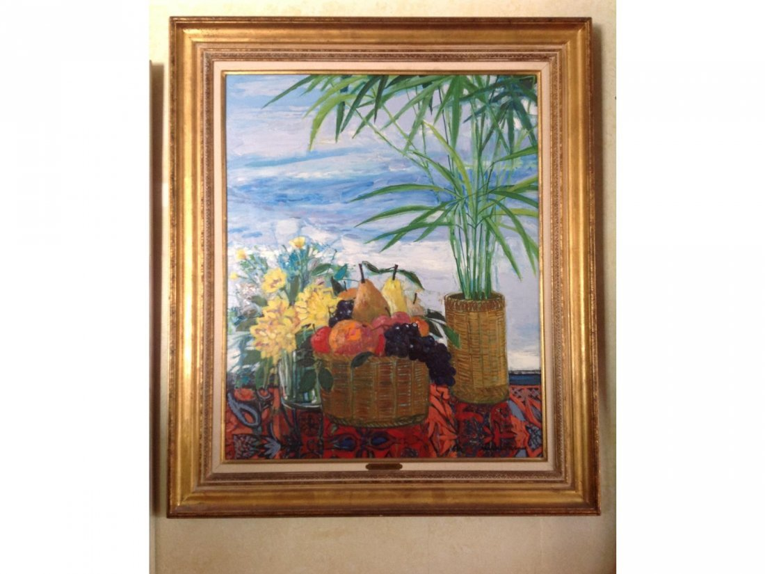 MICHEL HENRY, 'Corbeille De Fruits,' Oil on Board. Sgd.