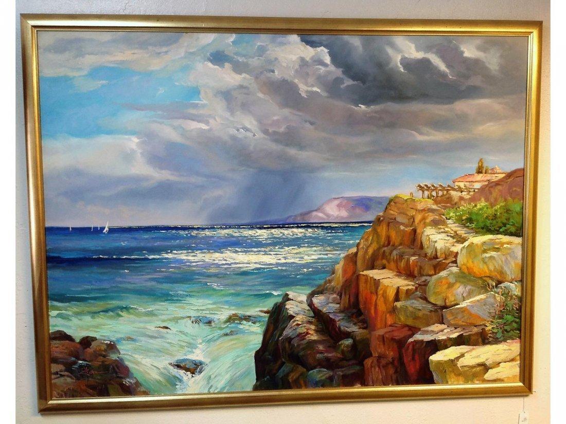 GATZ Mediterranean Seascape . Oil on Canvas. Sgd LL.