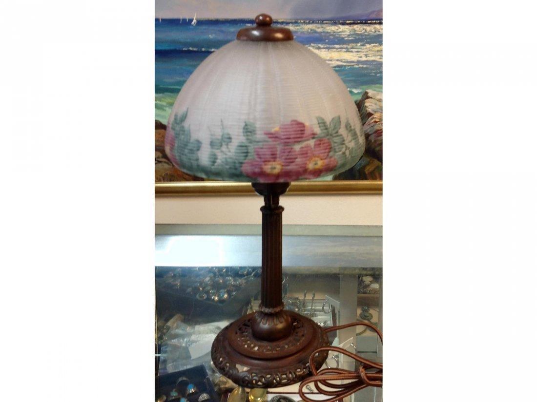 Floral Reverse Painted Lamp Stamped Handel base & sgd.