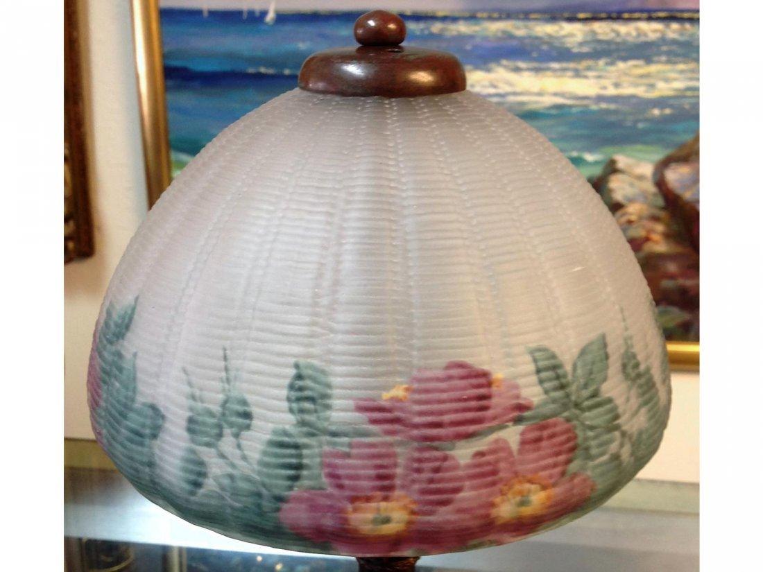 Floral Reverse Painted Lamp Stamped Handel base & sgd. - 2