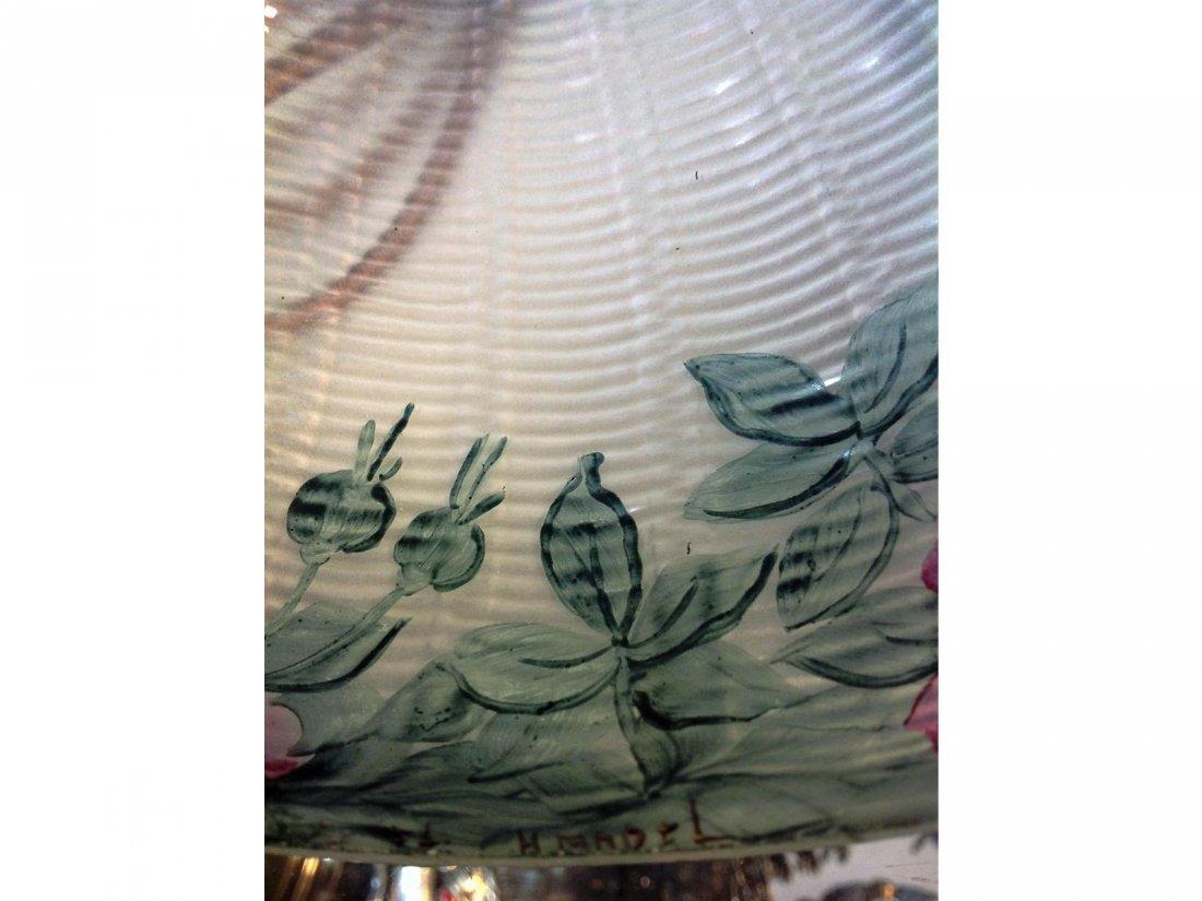 Floral Reverse Painted Lamp Stamped Handel base & sgd. - 3