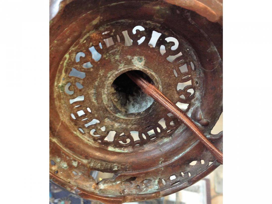 Floral Reverse Painted Lamp Stamped Handel base & sgd. - 4