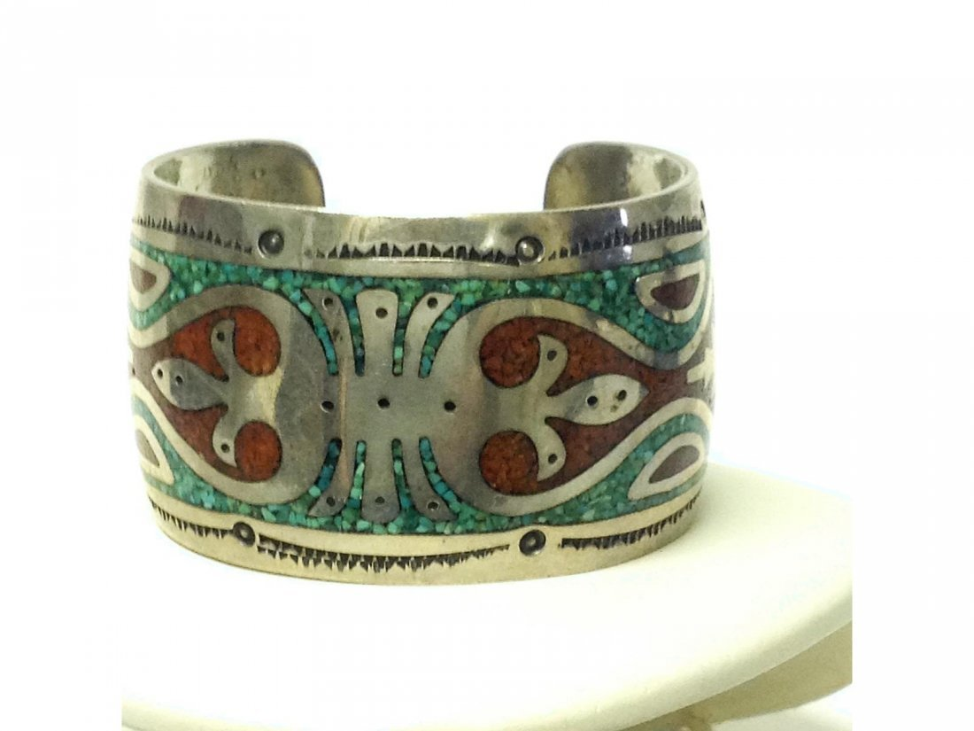 Indian Silver Turquoise and Coral inlaid Sgd JTS Silver