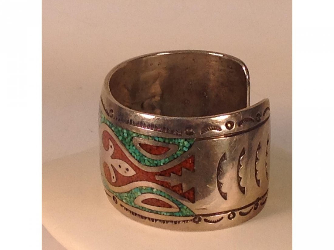 Indian Silver Turquoise and Coral inlaid Sgd JTS Silver - 3
