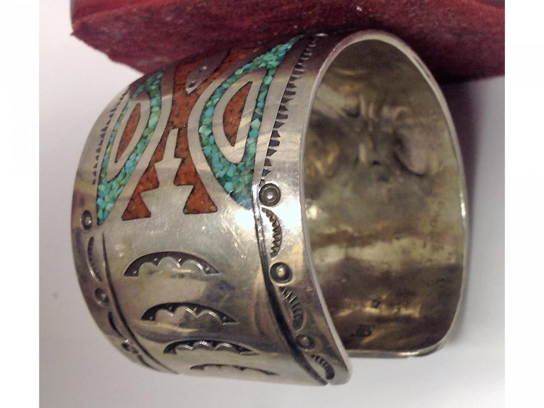 Indian Silver Turquoise and Coral inlaid Sgd JTS Silver - 4