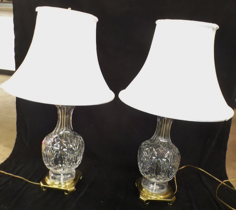 Pr of Signed Waterford Lamps