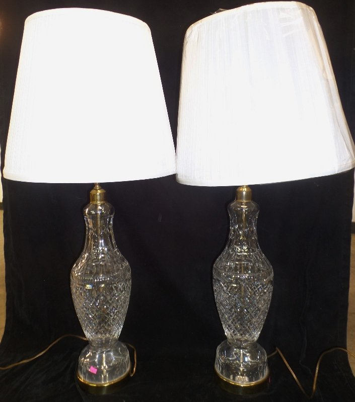 Pair of Signed Waterford Lamps
