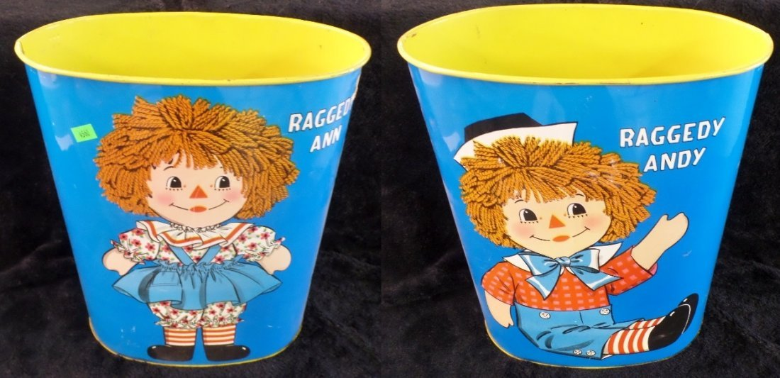Raggedy Ann & Andy Trash Can