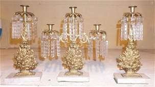 3 Pc Marble & Prism Candelabra Set