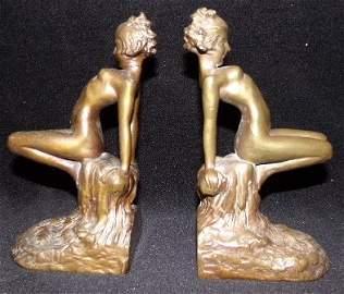 1927 Armor Bronze Nude Deco Book Ends