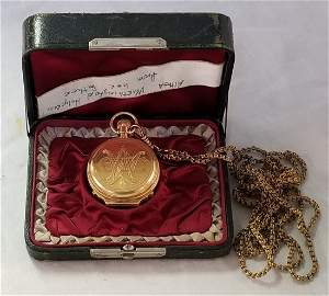 14K Gold Columbus Watch Co Pocket Watch with Gold Fob