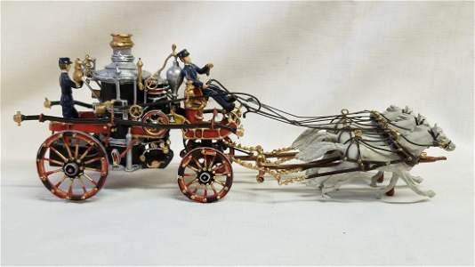 Horse Drawn Fire Engine Carriage Die Cast Model