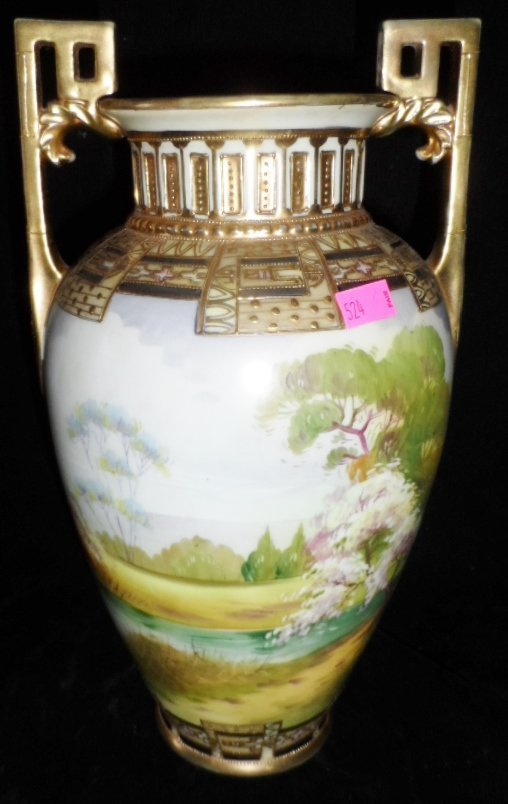 11'' Double Handled Hand Painted Nippon Vase