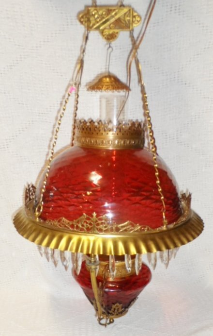 "34"" Victorian Cranberry Hanging Lamp"