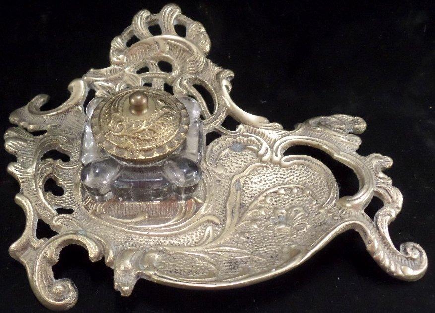 Ornate Brass Ink Well