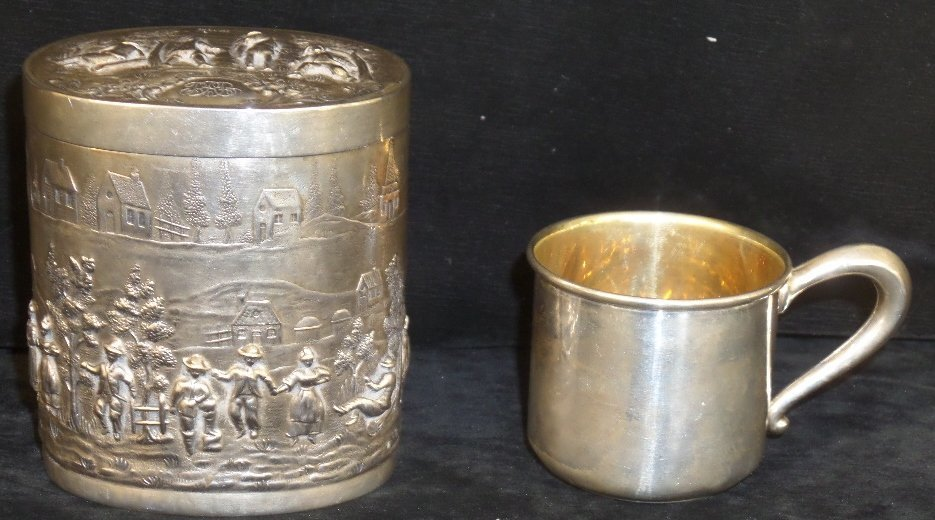 Sterling Silver Covered Box & Cup