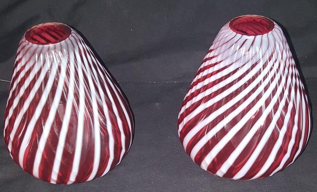 2 Cranberry Opalescent Swirl Vases