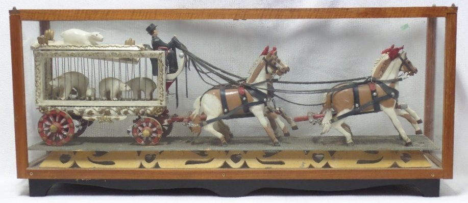 Vintage Circus Wagon with 4 Horses in Display