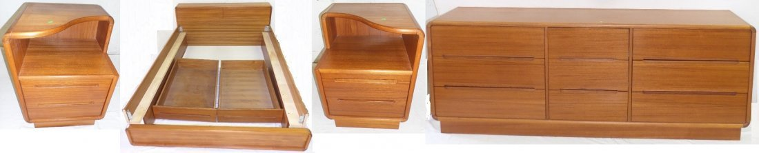 4 Piece Mid Century Modern Sun Cabinet Teakwood Bdm Set
