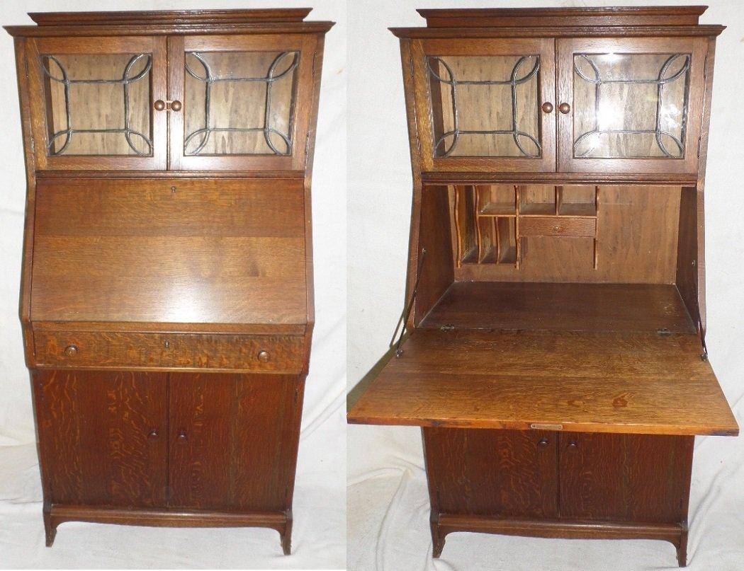 Mission Oak Lead Glass Slant Front Desk-Bookcase