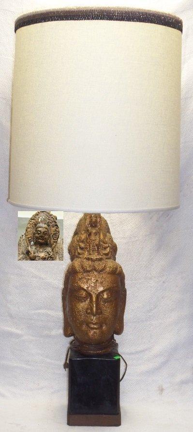 Mid Century Guan Yin Head Table Lamp