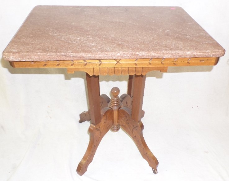 Walnut Victorian Spoon Carved Marble Top Parlor Table