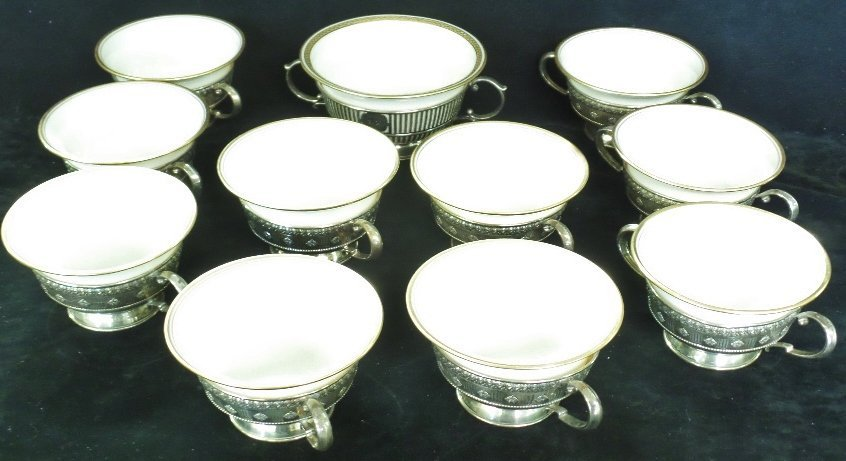 11 Lenox Bowls with Sterling Silver Holders