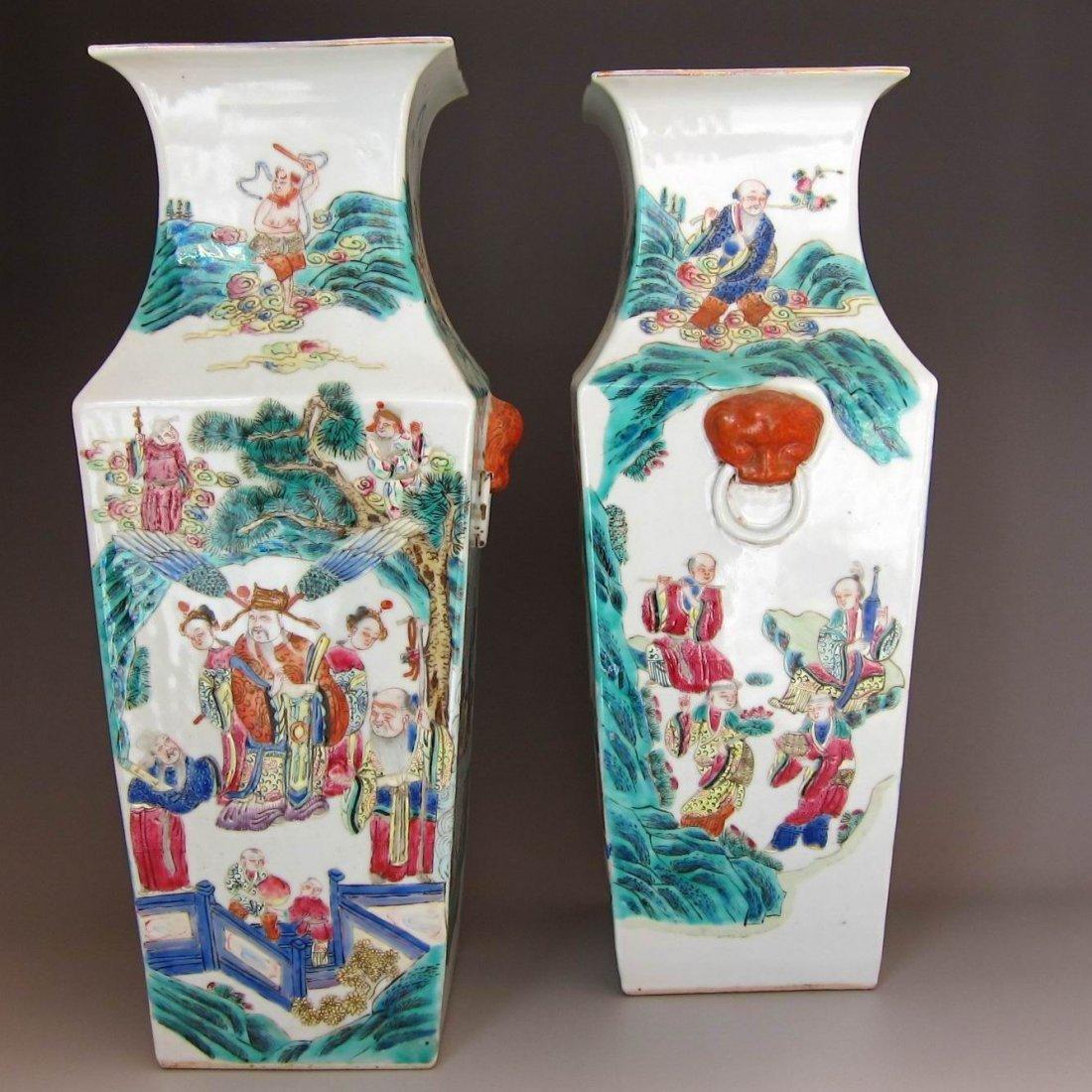 Pr.Large Chinese Qing Famille Rose Porcelain Vases