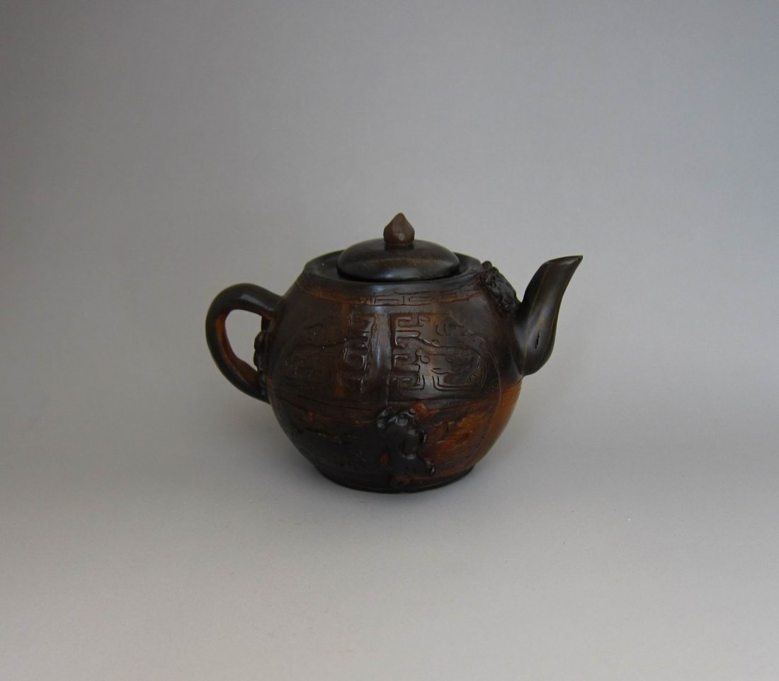 Chinese Antique Finely Carved Horn Pot