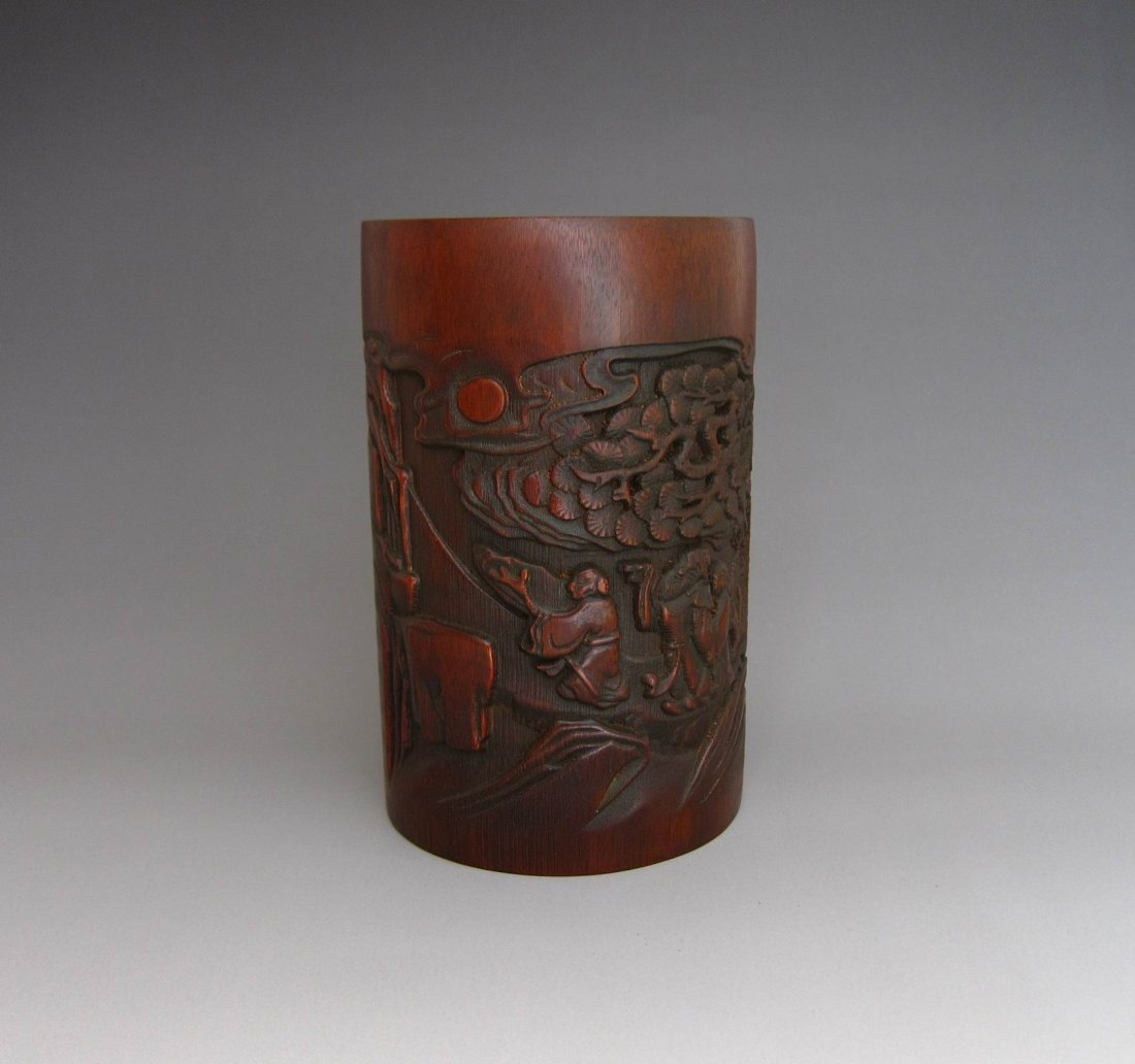 Chinese Antique Finely Carved Bamboo Brush Pot