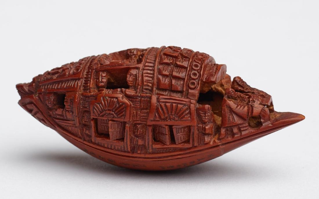 ZHAN GUSHENG: MINIATURE WORK OF COVERED BOAT WITH