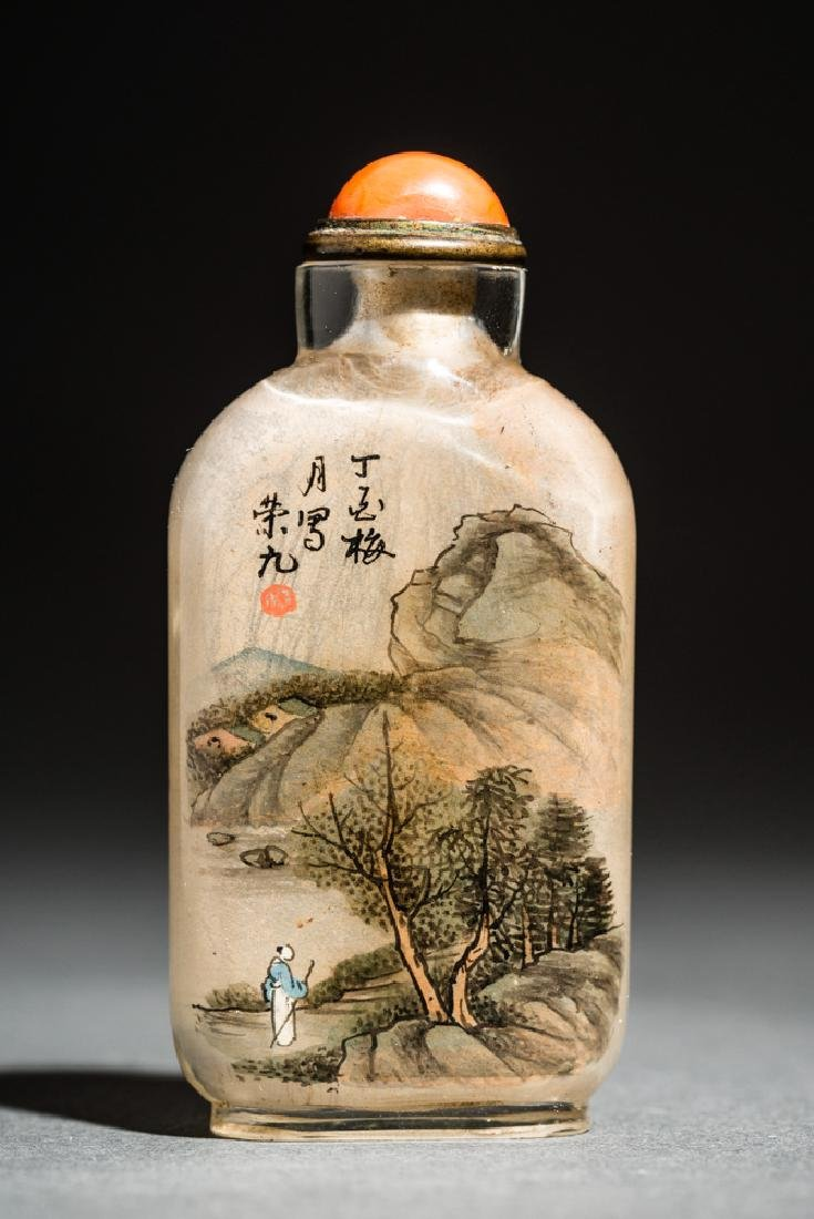 INSIDE PAINTED GLASS SNUFF BOTTLE - 2