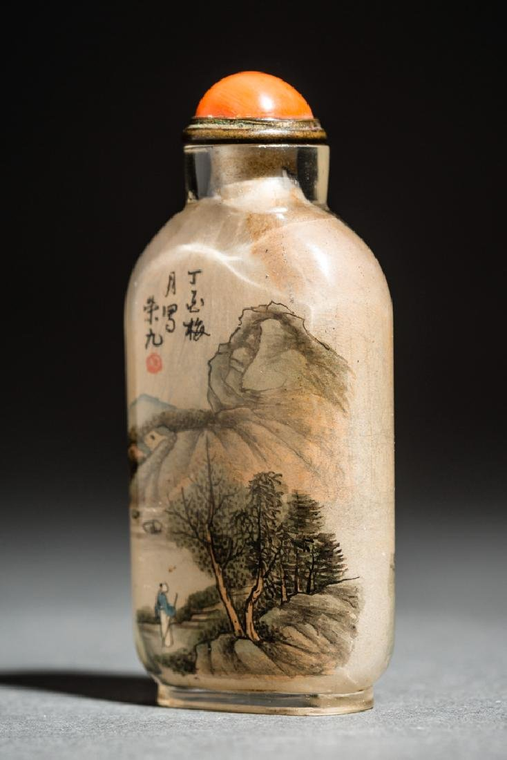 INSIDE PAINTED GLASS SNUFF BOTTLE - 3