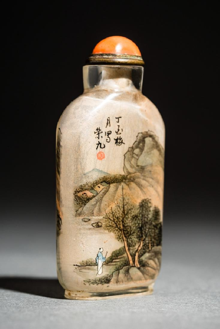 INSIDE PAINTED GLASS SNUFF BOTTLE - 4