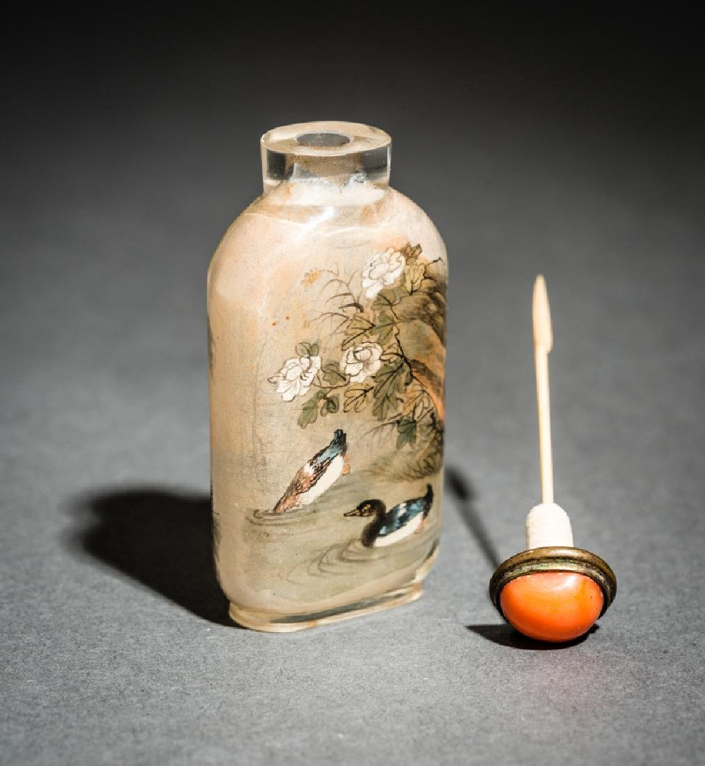 INSIDE PAINTED GLASS SNUFF BOTTLE - 6