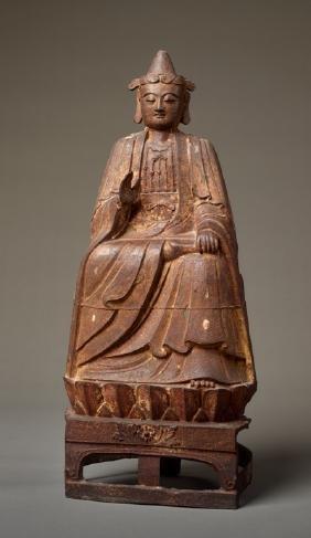 LARGE HISTORIC IRON SCULPTURE OF A THRONING BODHISATTVA