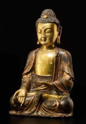 PARTIALLY GILDED BRONZE OF BHAISHAJYAGURU